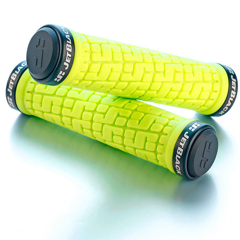 JB Tack Lock On Grips Fluro Yellow/Black Rings