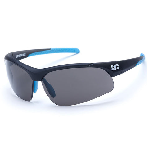 Jet Black Patrol Eyewear - Matte Black w' Blue Tips - Smoke, Clear & Amber Lenses