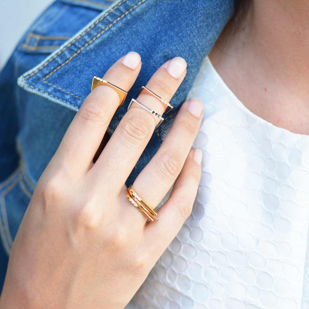Minerva Gold Bar Stacking Ring