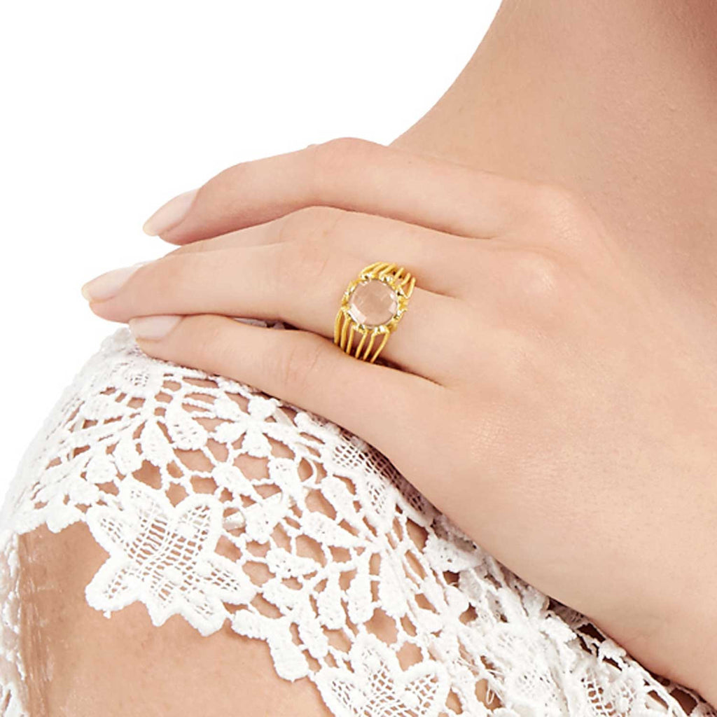 gold vermeil cocktail ring, rose quartz gemstone, organic