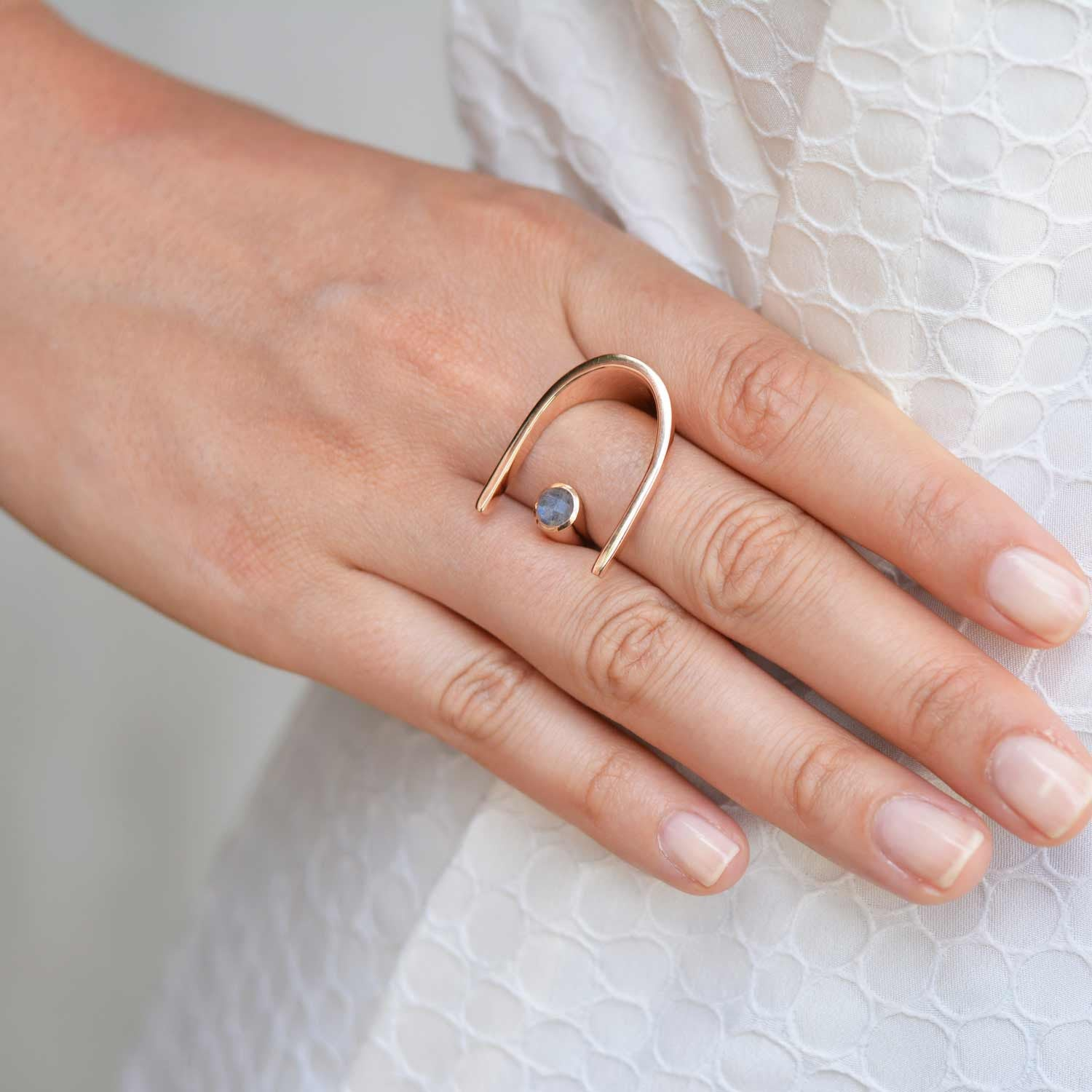 Rose Gold Cocktail Ring Blue Topaz | Neola British Handmade Jewellery