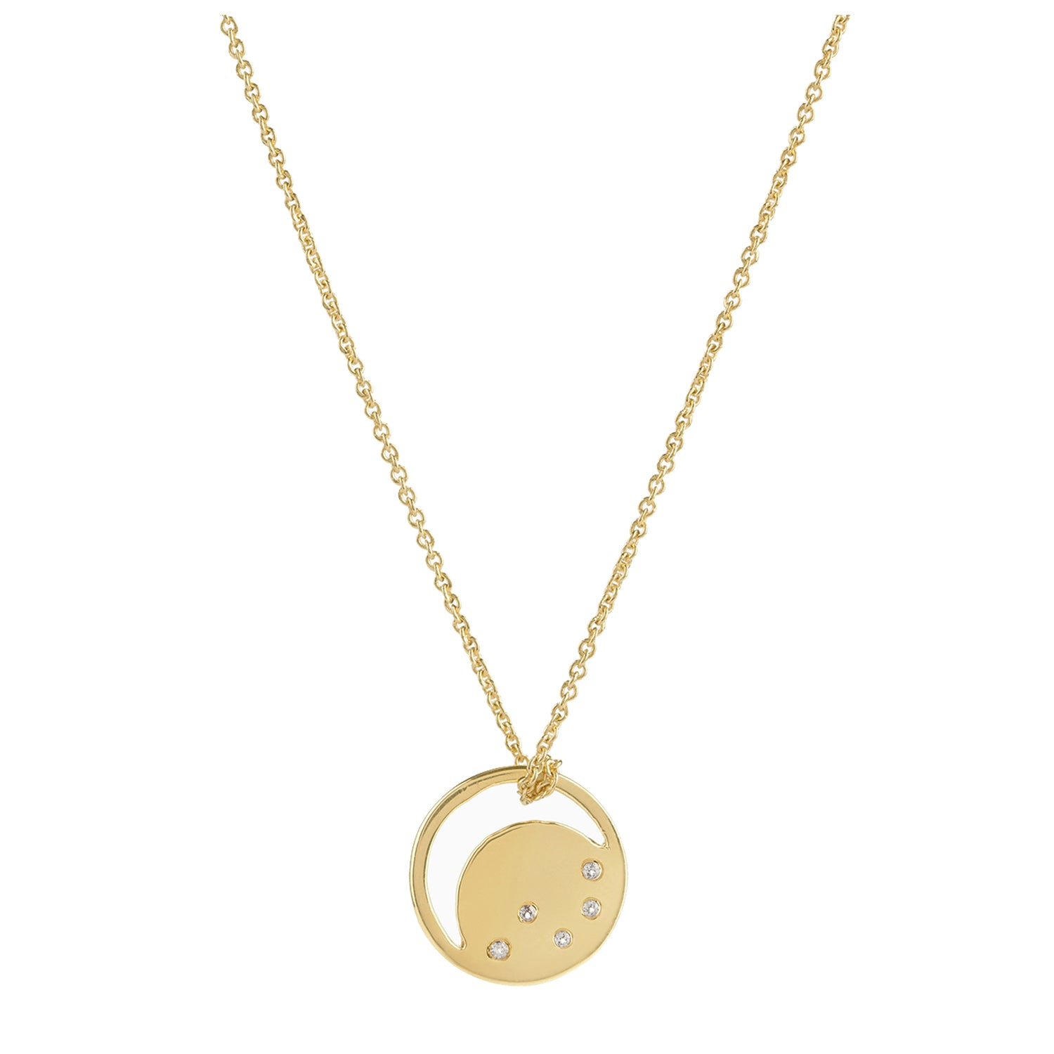 18ct gold vermeil set in sterling silver. eclipse necklace with white topaz. Fine British jewellery ethically handmade