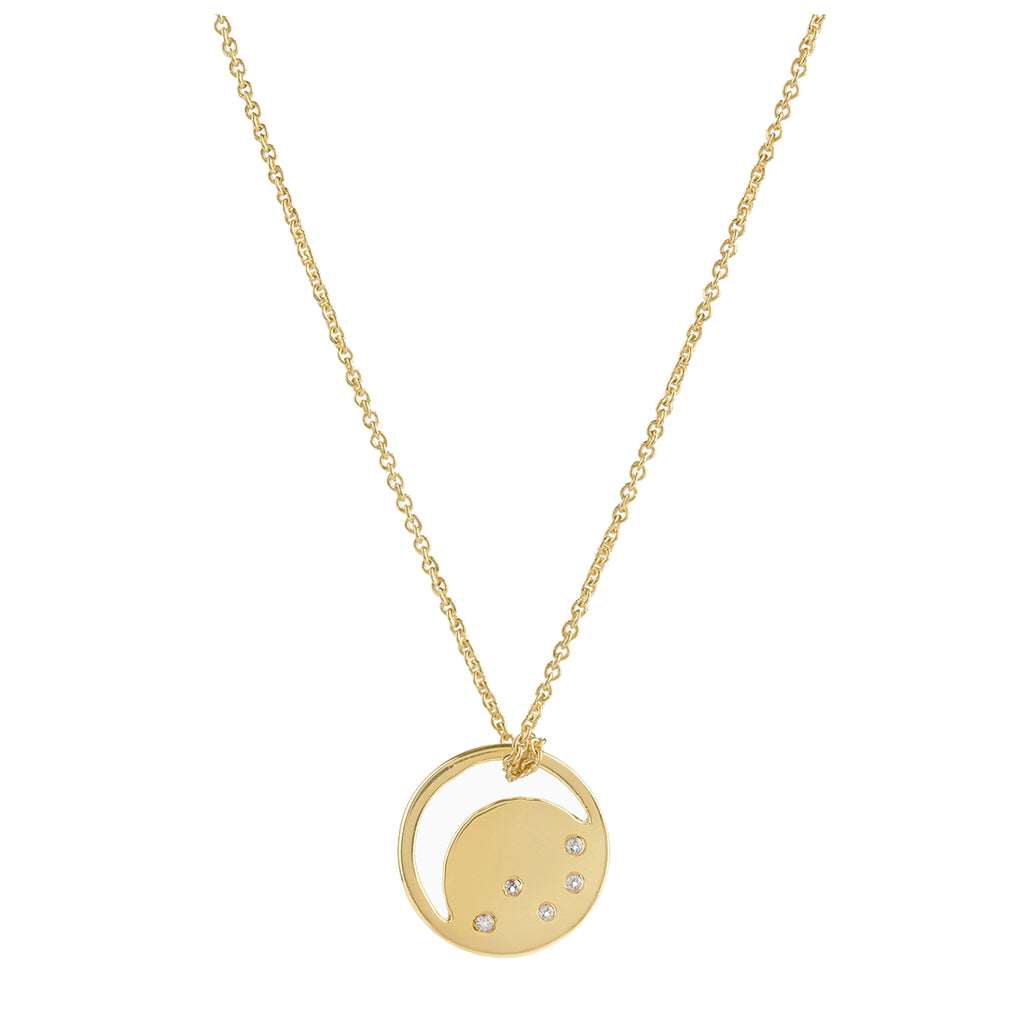 Gold vermeil eclipse necklace, white topaz, unique British design