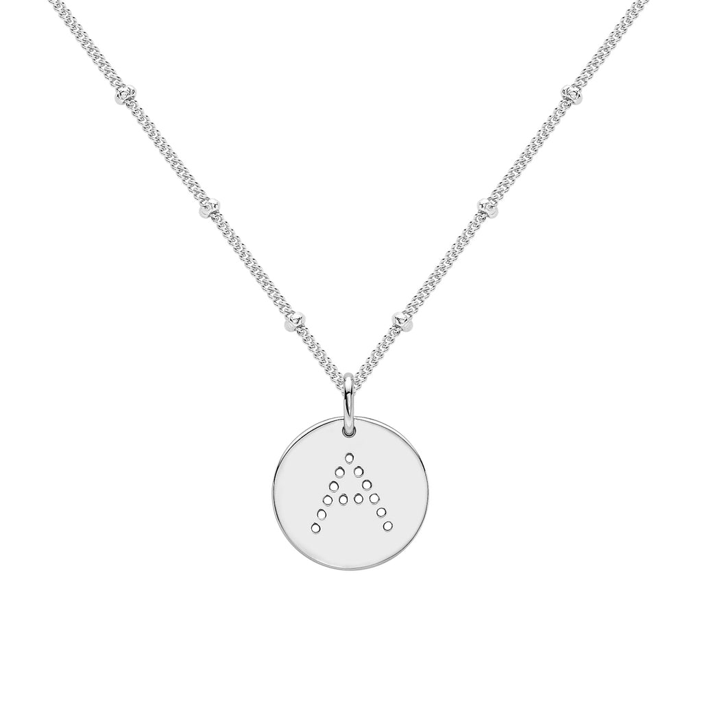alphabet necklace with letter pendant in Sterling Silver