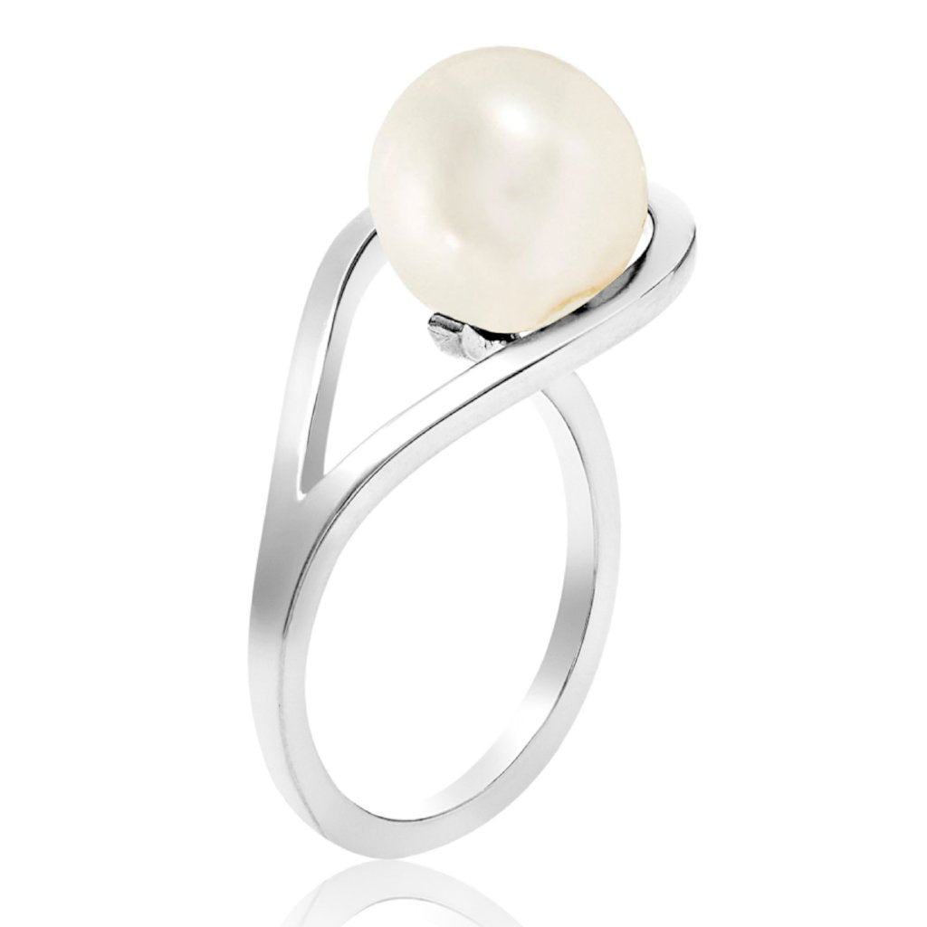 Silver ring, white pearl, geometric, unique British design