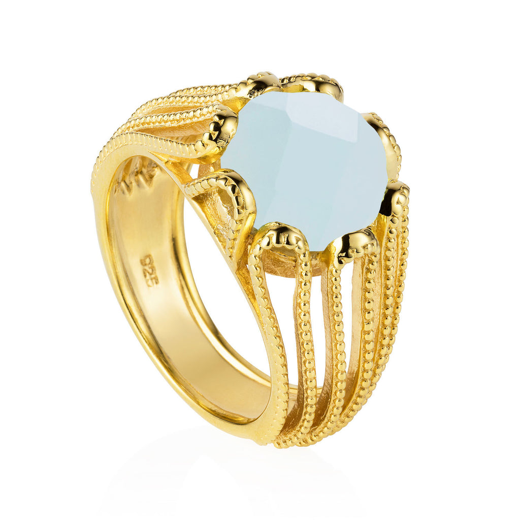 gold vermeil cocktail ring geometric, Aqua Chalcedony gemstone, unique design, handmade sustainable, British