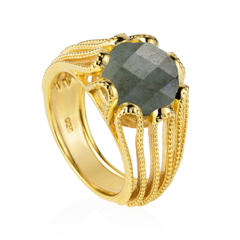 Gold Ring Labradorite Cocktail | Neola British Gemstone Jewellery