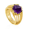 gold vermeil cocktail ring geometric amethyst handmade sustainable British