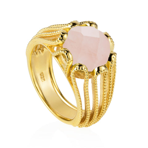 Gold Ring Rose Quartz Cocktail | Neola British Gemstone Jewellery