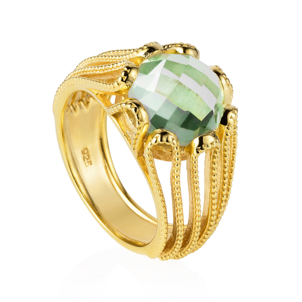 gold, vermeil, cocktail ring, green amethyst gemstone, geometric, unique British design