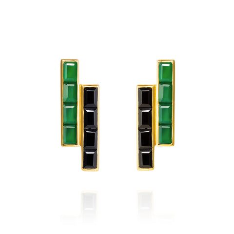 Gold Earrings Black and Green Onyx Geometric | Neola British Gemstone Jewellery