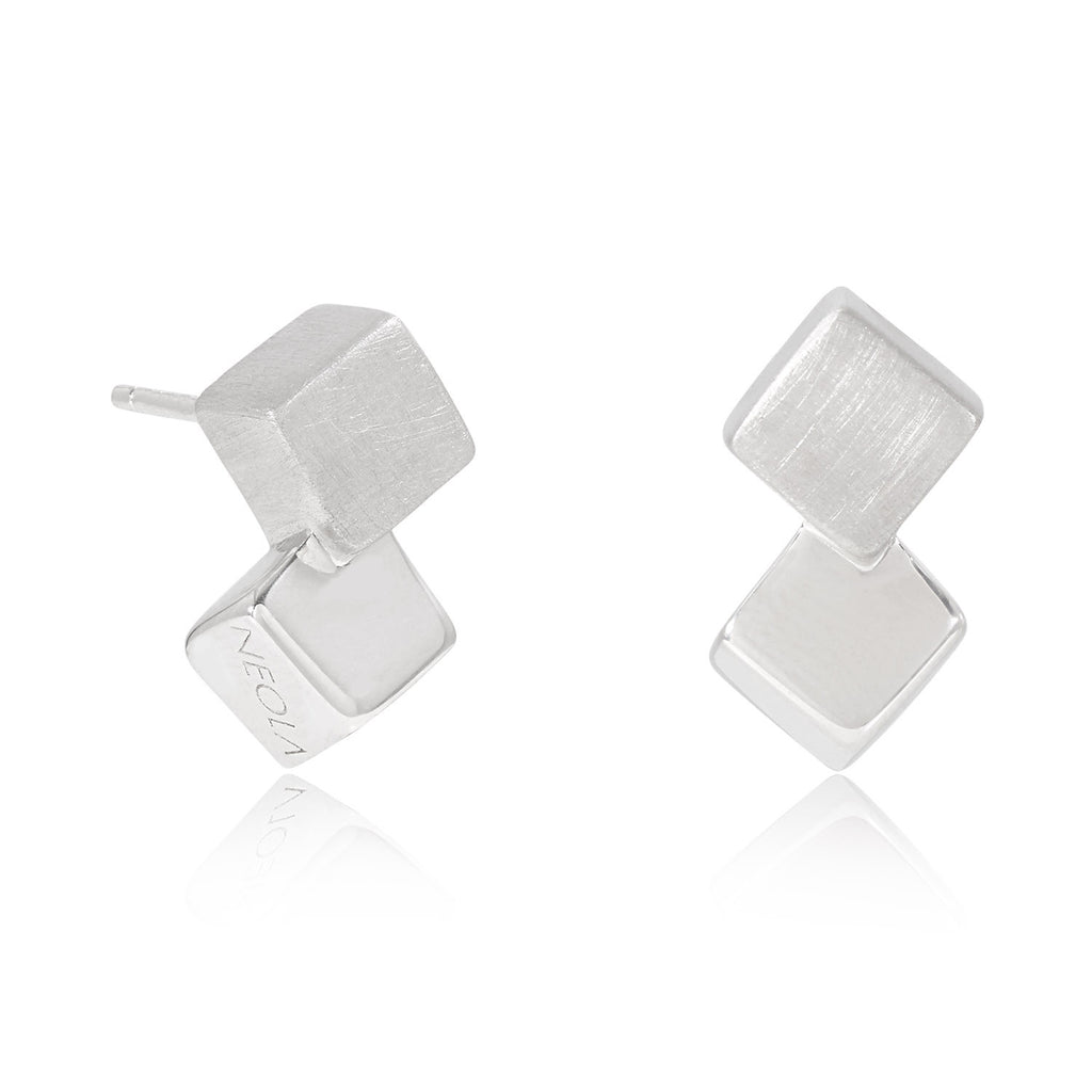 silver cube earrings, unique British design, geometric
