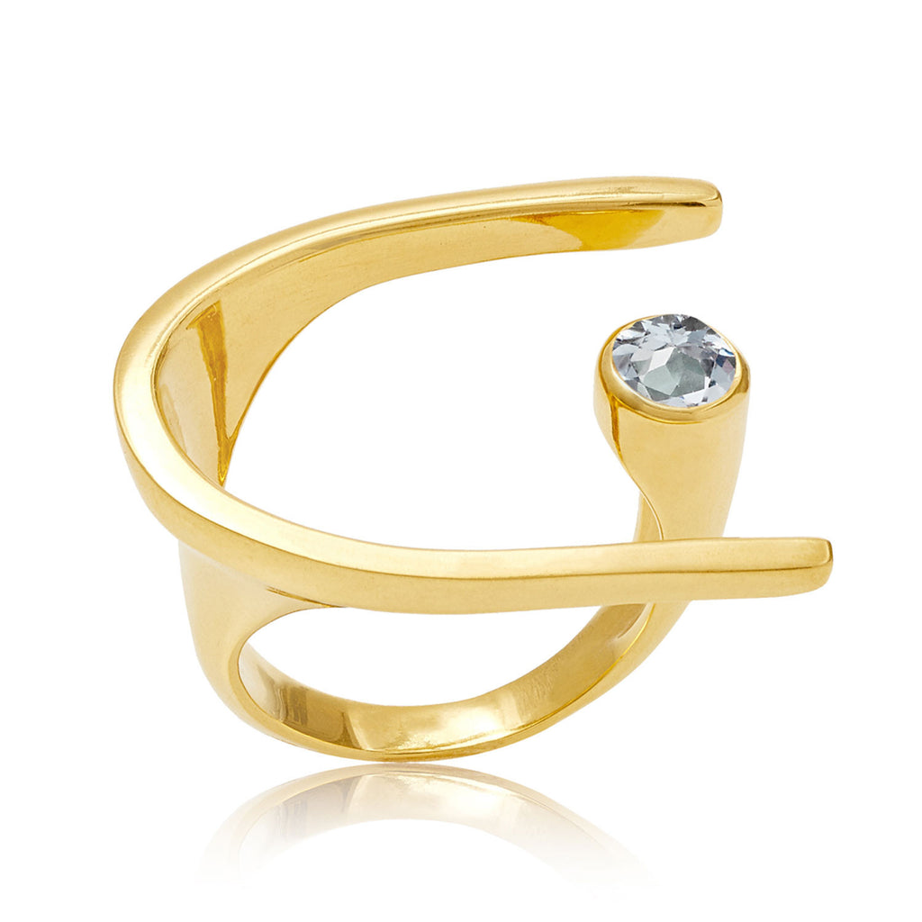 Lunaria Gold Cocktail Ring with Blue Topaz