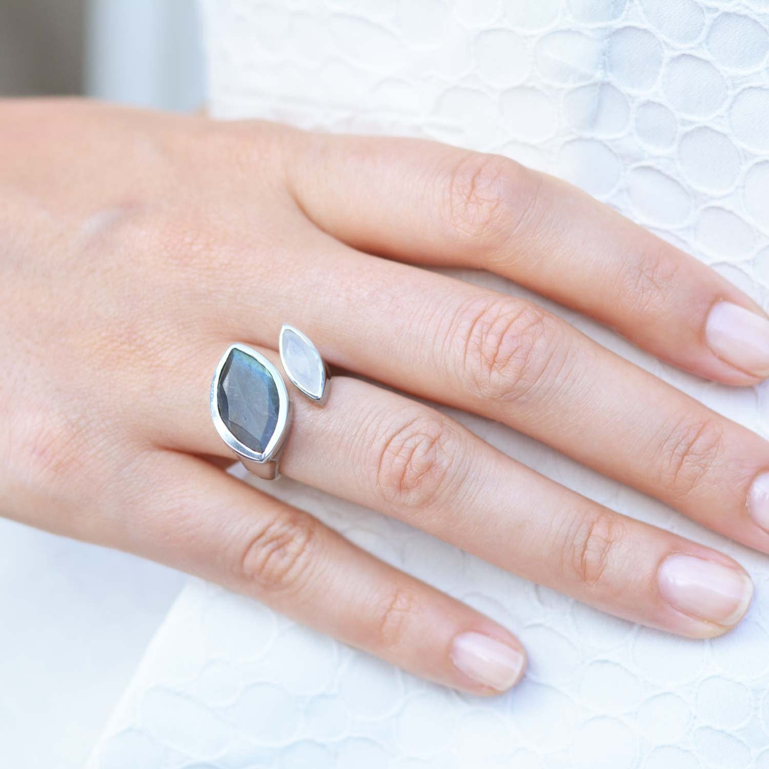 Silver Cocktail Ring with Labradorite and Rainbow Moonstone, unique British design