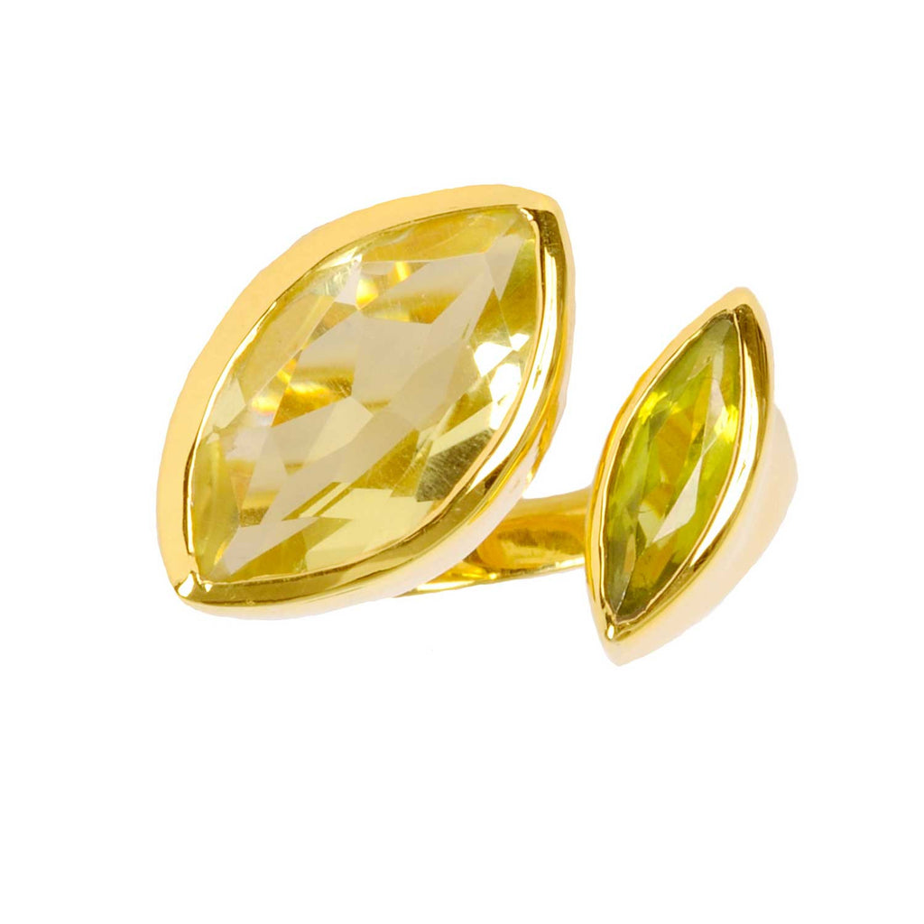Gold vermeil cocktail ring, lemon quartz, green peridot gemstone, geometric, unique British design