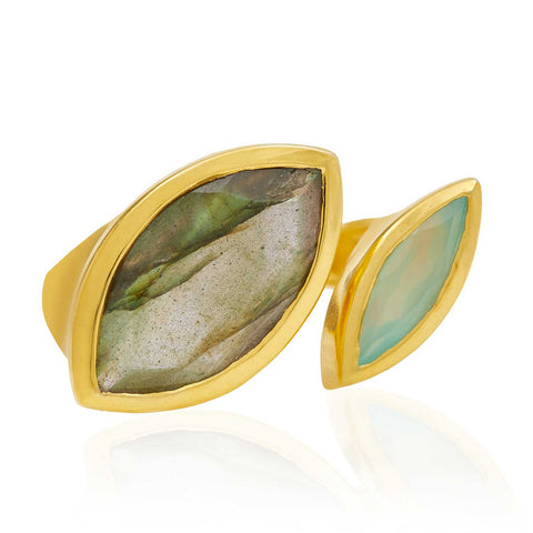 Gold Cocktail Ring Labradorite and Aqua Chalcedony | Neola British Gemstone Jewellery