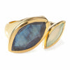 Gold vermeil cocktail ring, Aqua Chalcedony, Labradorite gemstone, geometric, unique British design