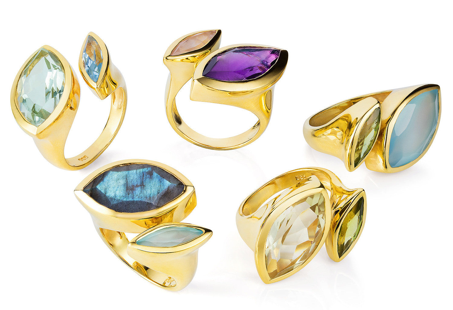 Different Gold Vermeil Rings, Citrine and Aqua Chalcedony gemstones, minimalist, geometric design