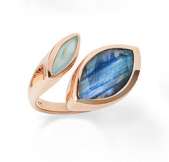 Gold vermeil cocktail ring, Labradorite Aqua Chalcedony gemstone, geometric, unique British design