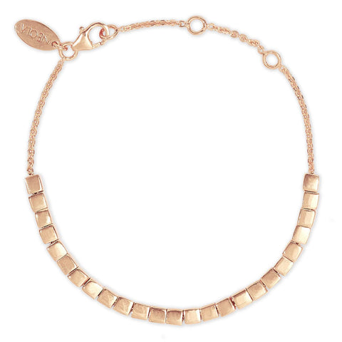 Rose Gold Bracelet Geometric Cubes