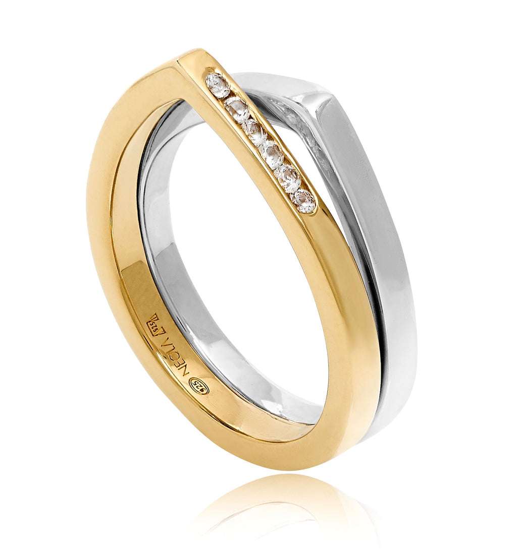 CARA PAVE GOLD SILVER RING