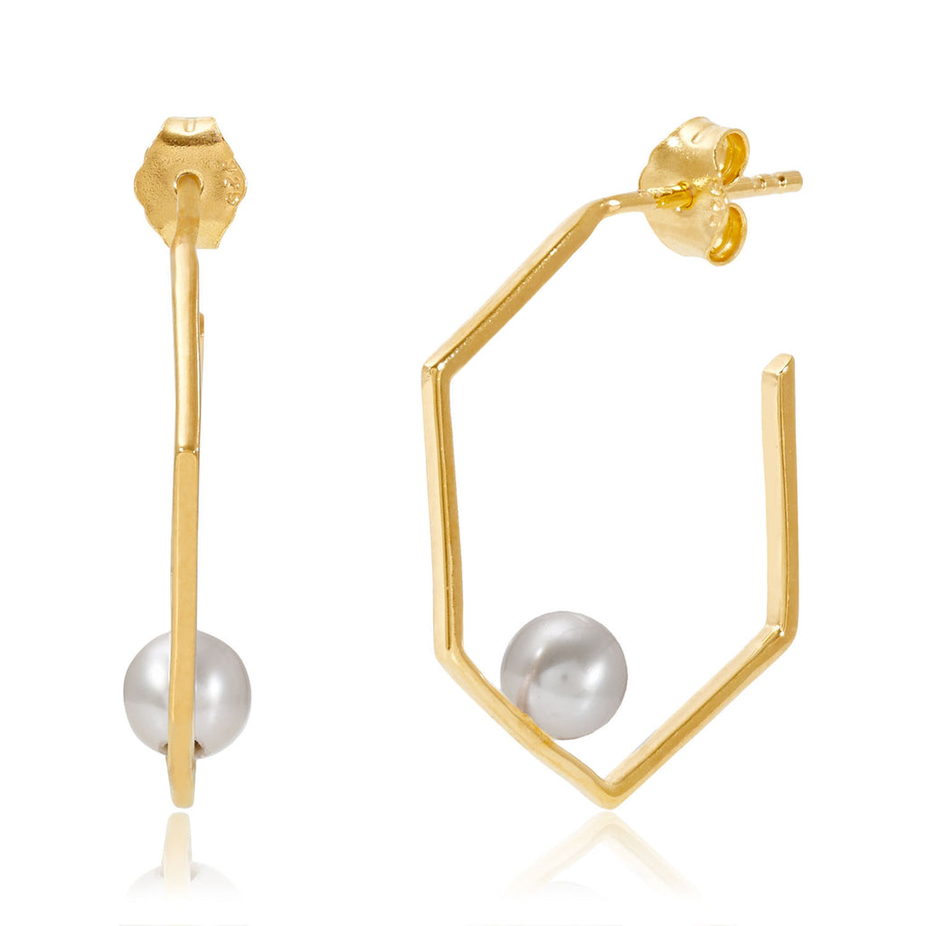 Minerva Gold Earrings with Grey Pearl