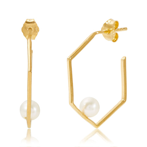 Gold Earrings White Pearl | Neola British Handmade Jewellery