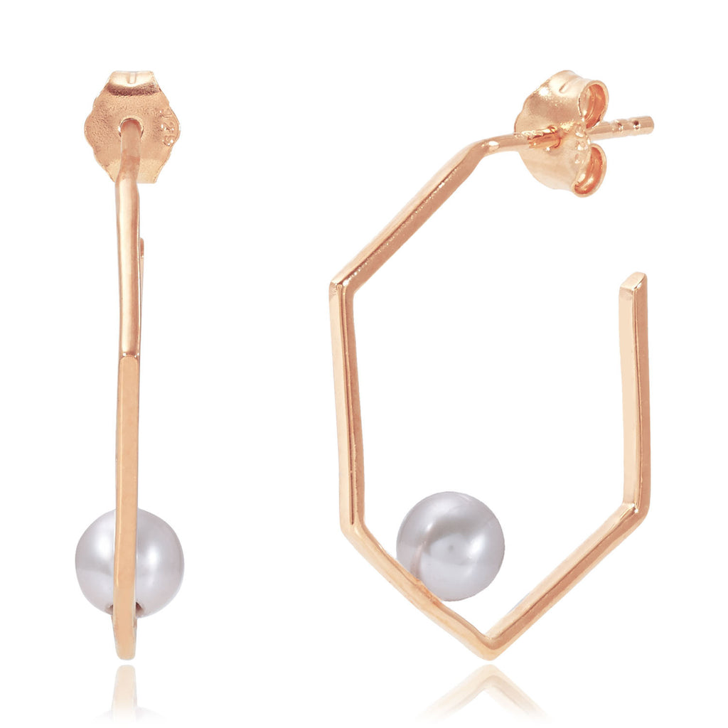 Minerva Rose Gold Earrings with Grey Pearl