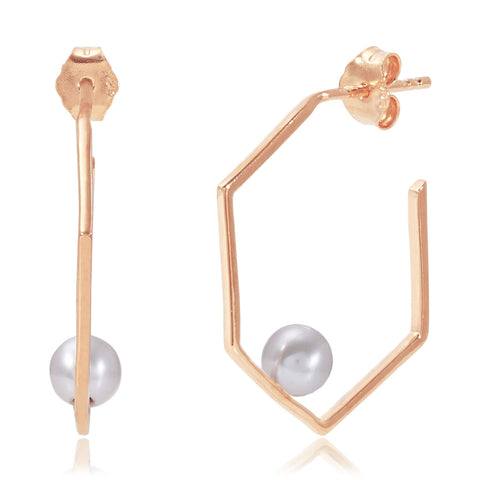 Rose Gold Earrings Grey Pearl | Neola British Handmade Jewellery