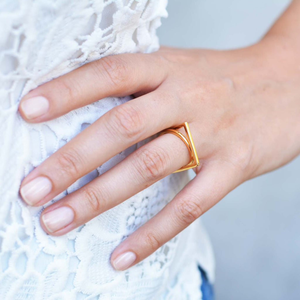 Gold vermeil ring, Geometric, unique British design, sustainable
