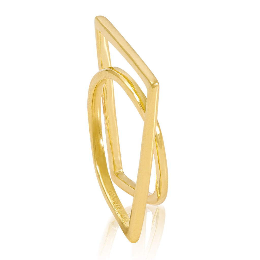 Gold vermeil sculptured ring, Geometric, unique British design