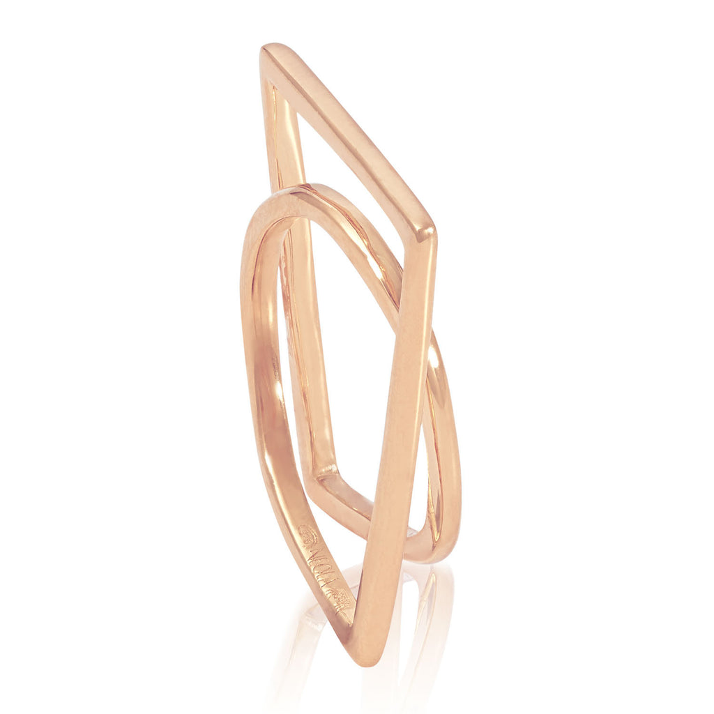 Rose gold sculptured ring, Geometric, unique British design