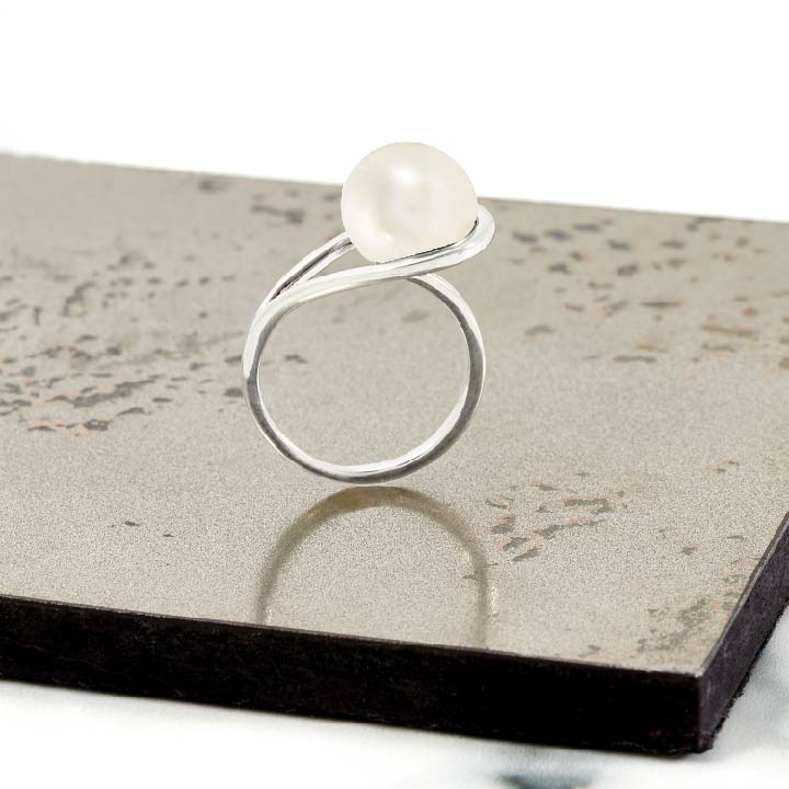 Silver ring, white freshwater pearl, geometric, unique British design
