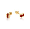 gold, vermeil, studs, red onyx, neola design