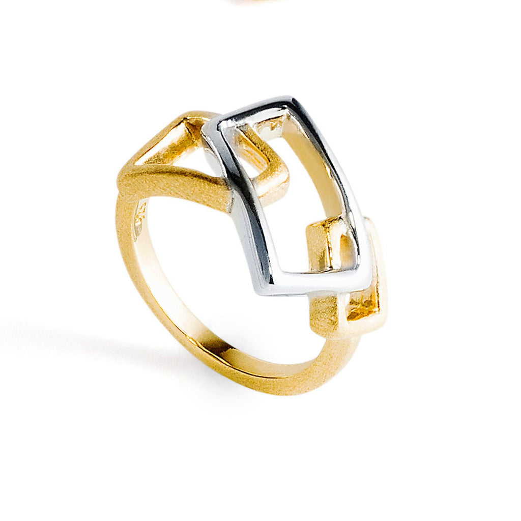 Geo Gold and Sterling Silver Ring