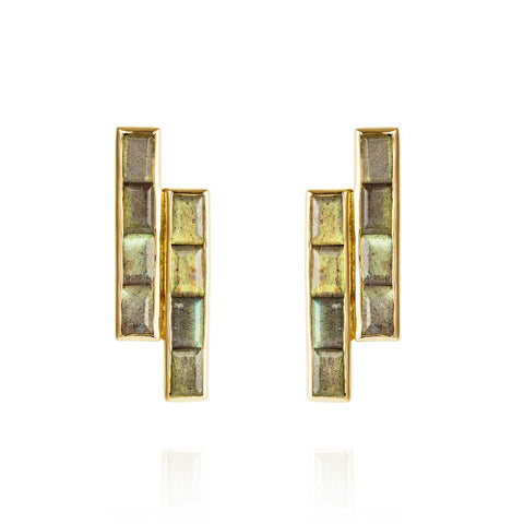 Gold Earrings Labradorite Geometric | Neola British Gemstone Jewellery