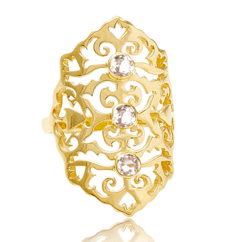 Gold Intricate Cocktail Ring White Topaz | Neola British Handmade Jewellery