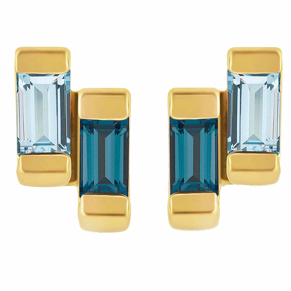 18ct gold vermeil set in sterling silver. Anais studs with london and blue topaz. Fine British jewellery ethically handmade