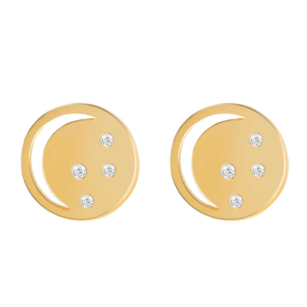 Gold vermeil eclipse studs, white topaz, unique British design