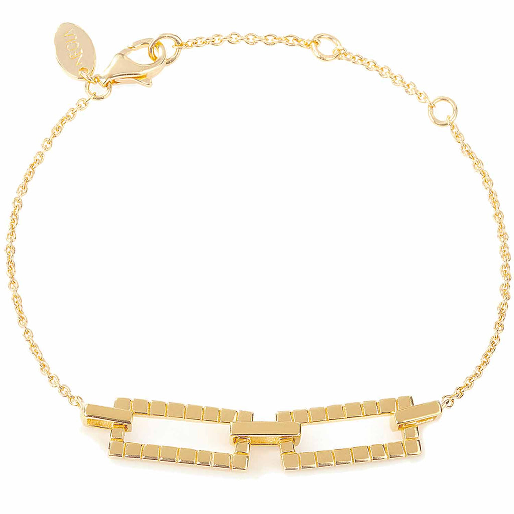18ct gold vermeil set in sterling silver. Laura bracelet. Fine British jewellery ethically handmade. Geometric.