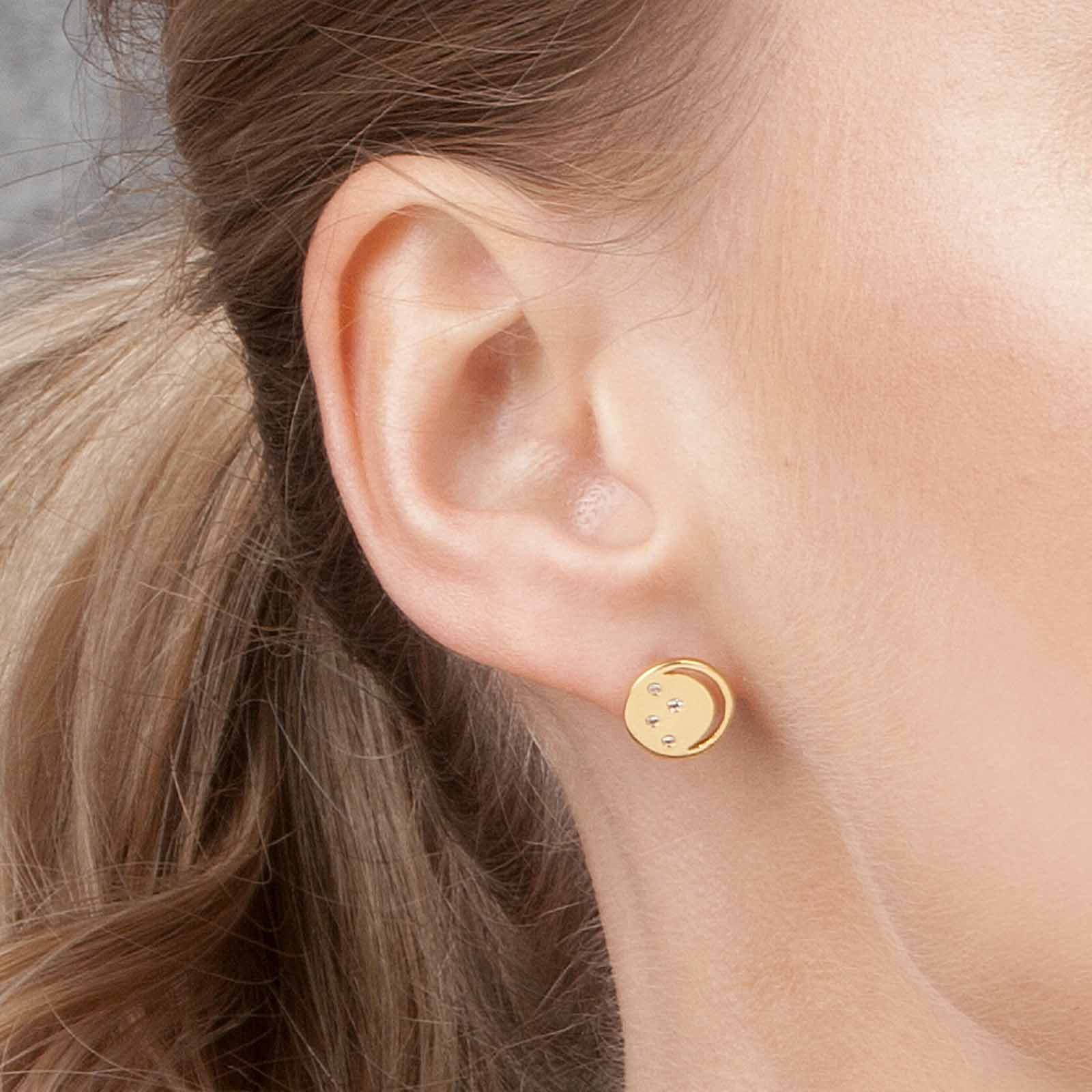 Gold vermeil eclipse studs, white topaz, geometric, unique British design