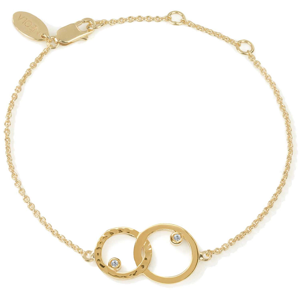 18ct gold vermeil set in sterling silver. unity bracelet with white topaz. Fine British jewellery ethically handmade