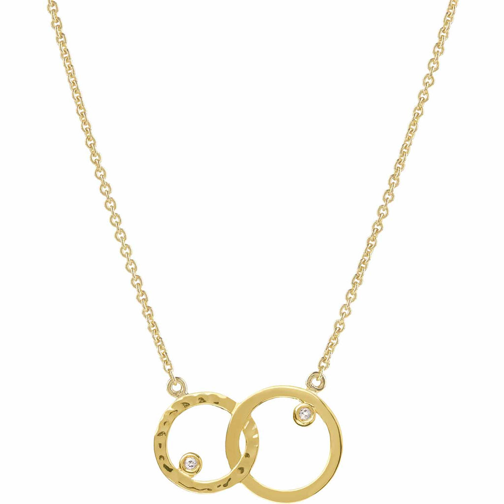 18ct gold vermeil set in sterling silver. unity necklace with white topaz. Fine British jewellery ethically handmade