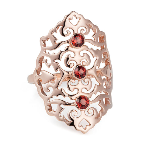 Rose Gold Intricate Cocktail Ring Red Onyx | Neola British Handmade Jewellery