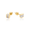 Gemstone Studs Gold Blue Lace Geometric