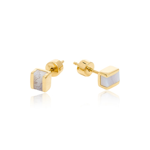 GOLD BLUE LACE CUBO STUDS