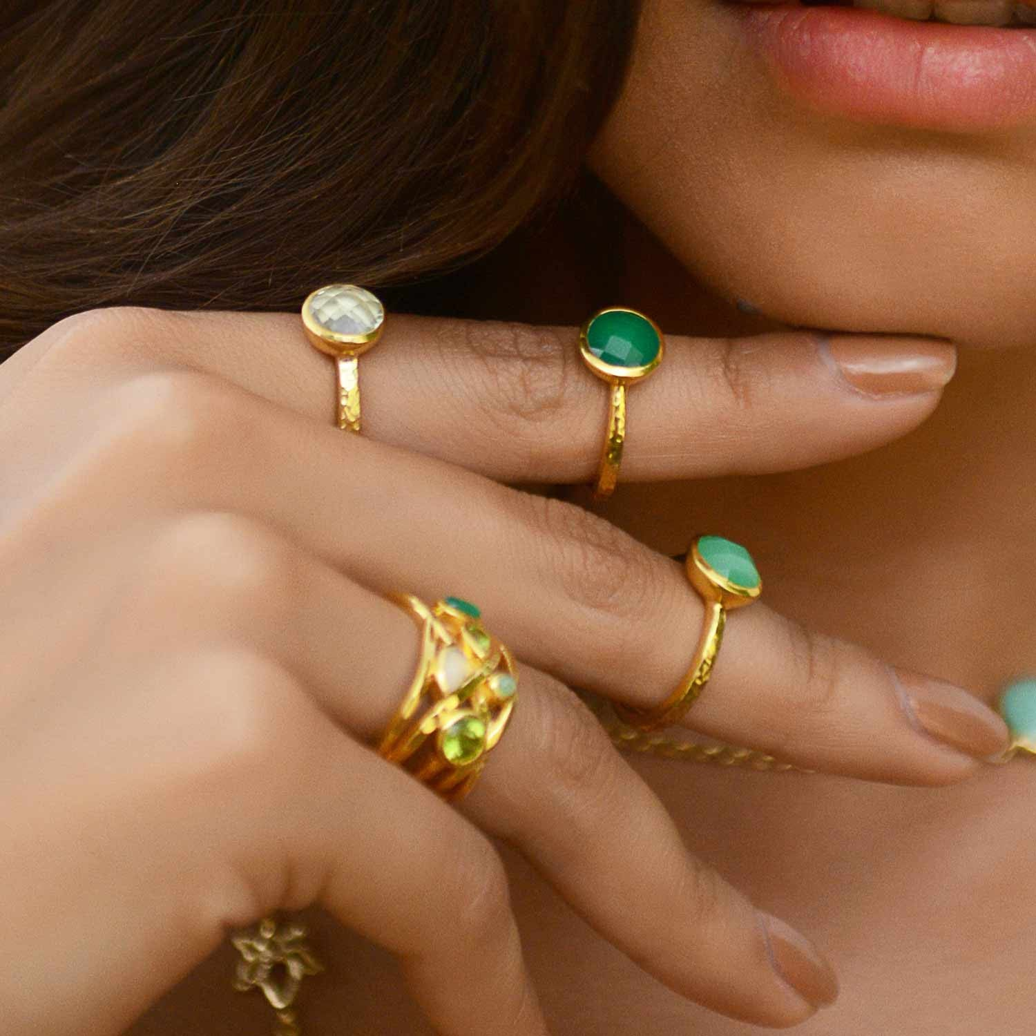 Gold Stacking Ring Chrysoprase | Neola British Handmade Jewellery