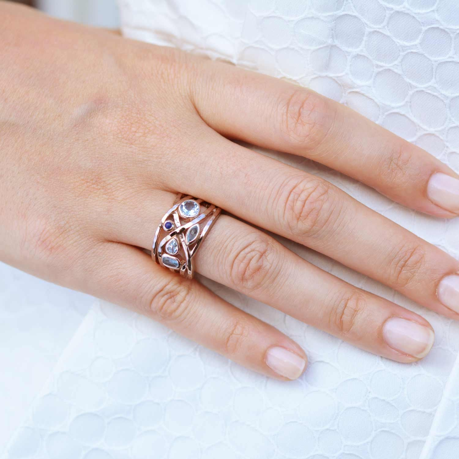 Liana Rose Gold Ring - Rose Quartz and Aquamarine | Neola Design
