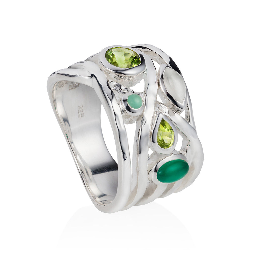 Silver cocktail ring, Green Amethyst, Green Onyx, Chrysoprase and Peridot, gemstone, geometric, unique British design