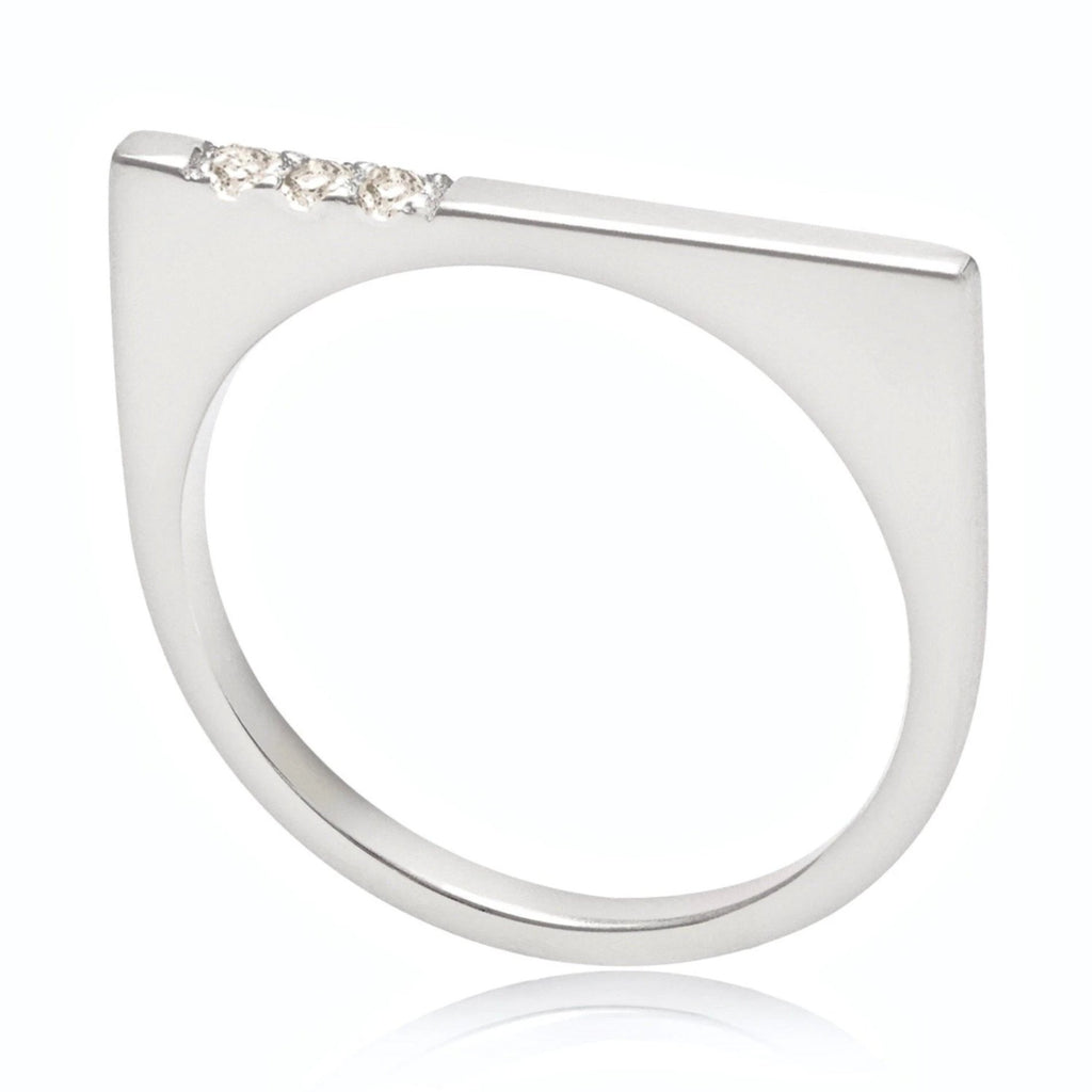 geometric silver ring neola design minerva bar stacking